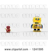 Clip Art of Retro 3d Surprised Yellow Robot Looking at a Smaller Waving Red One by Stockillustrations