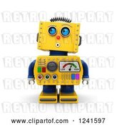Clip Art of Retro 3d Surprised Yellow Robot Looking up by Stockillustrations