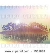 Clip Art of Retro 3d Tropical Island with Palm Trees and Flares at Sunset by KJ Pargeter