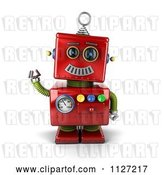 Clip Art of Retro 3d Waving Red Metal Robot by Stockillustrations
