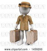 Clip Art of Retro 3d White Guy Traveler with Suitcases, on a White Background by Texelart