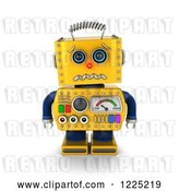 Clip Art of Retro 3d Yellow Robot About to Cry by Stockillustrations