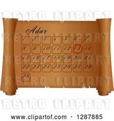 Clip Art of Retro Adar Calendar on a Parchment Scroll by Prawny