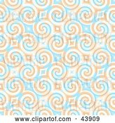 Clip Art of Retro Background of Blue and Orange Swirls and Diamonds by Arena Creative