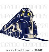 Clip Art of Retro Blue Steam Engine from a Front Left View by Patrimonio