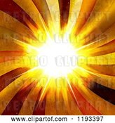 Clip Art of Retro Bright Burst with Grungy Rays by Arena Creative