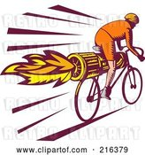 Clip Art of Retro Cyclist Riding a Rocket Bike by Patrimonio