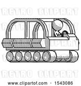 Clip Art of Retro Design Mascot Lady Driving Amphibious Tracked Vehicle Side Angle View by Leo Blanchette