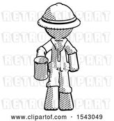 Clip Art of Retro Explorer Guy Begger Holding Can Begging or Asking for Charity by Leo Blanchette