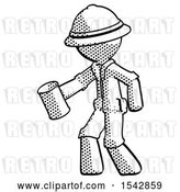 Clip Art of Retro Explorer Guy Begger Holding Can Begging or Asking for Charity Facing Left by Leo Blanchette