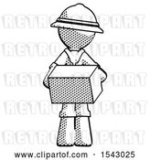Clip Art of Retro Explorer Guy Holding Box Sent or Arriving in Mail by Leo Blanchette
