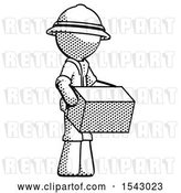 Clip Art of Retro Explorer Guy Holding Package to Send or Recieve in Mail by Leo Blanchette
