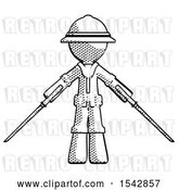 Clip Art of Retro Explorer Guy Posing with Two Ninja Sword Katanas by Leo Blanchette