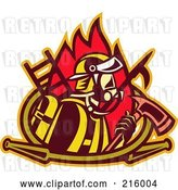 Clip Art of Retro Firefighter with an Axe, Ladder, Flames and Hose by Patrimonio