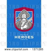 Clip Art of Retro Greeting Card Design an American Patriot Holding Flintlock Pistol with Always Honor the Heroes on Patriot's Day Text on Blue by Patrimonio
