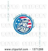 Clip Art of Retro Greeting Card Design with a Patriot and Proud to Be American, Happy Patriot's Day, Home of the Brave&Land of the Free Text on White by Patrimonio