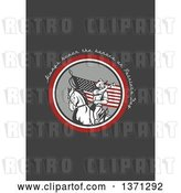 Clip Art of Retro Greeting Card Design with an American Cavalry Soldier on Horseback and Always Honor the Heroes on Patriot's Day Text on Gray by Patrimonio