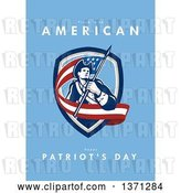 Clip Art of Retro Greeting Card Design with an American Patriot Revolutionary Soldier Carrying a Flag and Proud to Be American, Happy Patriot's Day Text on Blue by Patrimonio