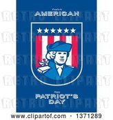 Clip Art of Retro Greeting Card Design with an American Patriot Soldier and Roud to Be American, Happy Patriot's Day Text on Blue by Patrimonio