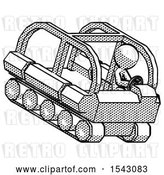 Clip Art of Retro Guy Driving Amphibious Tracked Vehicle Top Angle View by Leo Blanchette