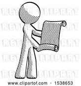 Clip Art of Retro Guy Holding Blueprints or Scroll by Leo Blanchette