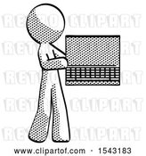 Clip Art of Retro Guy Holding Laptop Computer Presenting Something on Screen by Leo Blanchette