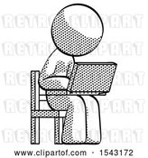 Clip Art of Retro Guy Using Laptop Computer While Sitting in Chair Angled Right by Leo Blanchette