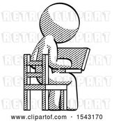 Clip Art of Retro Guy Using Laptop Computer While Sitting in Chair View from Back by Leo Blanchette