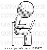 Clip Art of Retro Guy Using Laptop Computer While Sitting in Chair View from Side by Leo Blanchette