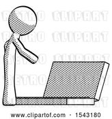 Clip Art of Retro Guy Using Large Laptop Computer Side Orthographic View by Leo Blanchette
