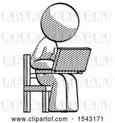Clip Art of Retro Halftone Design Mascot Lady Using Laptop Computer While Sitting in Chair Angled Right by Leo Blanchette
