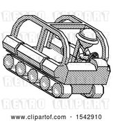 Clip Art of Retro Halftone Explorer Ranger Guy Driving Amphibious Tracked Vehicle Top Angle View by Leo Blanchette