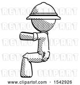 Clip Art of Retro Halftone Explorer Ranger Guy Sitting or Driving Position by Leo Blanchette