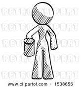 Clip Art of Retro Lady Begger Holding Can Begging or Asking for Charity by Leo Blanchette