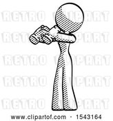 Clip Art of Retro Lady Holding Binoculars Ready to Look Left by Leo Blanchette