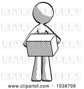 Clip Art of Retro Lady Holding Box Sent or Arriving in Mail by Leo Blanchette