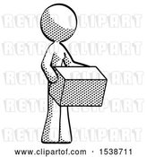 Clip Art of Retro Lady Holding Package to Send or Recieve in Mail by Leo Blanchette