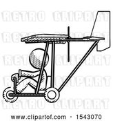 Clip Art of Retro Lady in Ultralight Aircraft Side View by Leo Blanchette