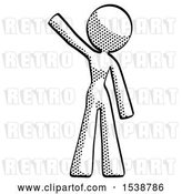 Clip Art of Retro Lady Waving Emphatically with Right Arm by Leo Blanchette