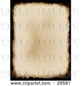Clip Art of Retro Old Piece of Parchment Paper with Black Burnt Edges by KJ Pargeter