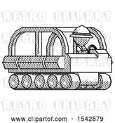 Clip Art of Retro Ranger Guy Driving Amphibious Tracked Vehicle Side Angle View by Leo Blanchette