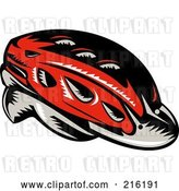 Clip Art of Retro Red Cycling Helmet by Patrimonio