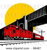 Clip Art of Retro Red Diesel Train Passing Under a Bridge Against the Sun by Patrimonio
