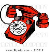 Clip Art of Retro Red Telephone by Patrimonio