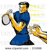 Clip Art of Retro Rugby Football Player - 36 by Patrimonio