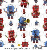 Clip Art of Retro Seamless Background of Red and Blue Robots on White by Stockillustrations