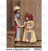 Clip Art of Retro Two Little Sisters at a Doorway, Smiling and Holding Hands, Circa 1880 by OldPixels
