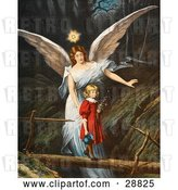 Clip Art of Retro Valentine of a Female Guardian Angel Guiding a Little Girl in a Red Dress Across a Dangerous Log Bridge over a Gorge, Circa 1890 by OldPixels