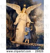 Clip Art of Retro Valentine of a Female Guardian Angel Protecting a Little Girl As She Crosses a Gorge on a Narrow Bridge, Carrying a Basket and Flowers, Circa 1890 by OldPixels