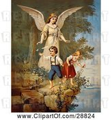 Clip Art of Retro Valentine of a Female Guardian Angel Watching over a Little Boy and Girl As They Pick Flowers and Chase Butterflies at the Edge of a Cliff, Circa 1890 by OldPixels